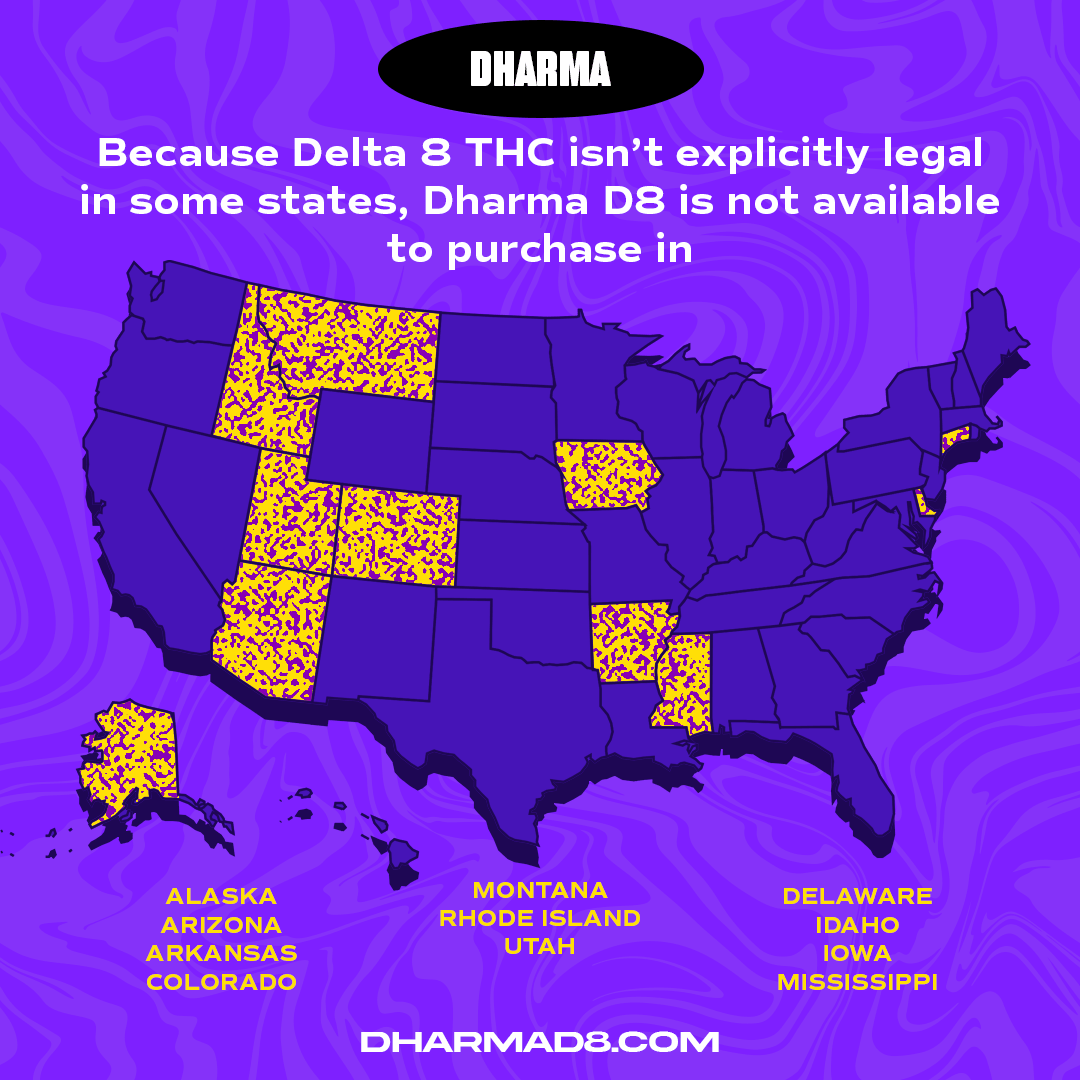 Map of US States where Delta 8 THC is not allowed