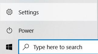 Settings button in the Start menu