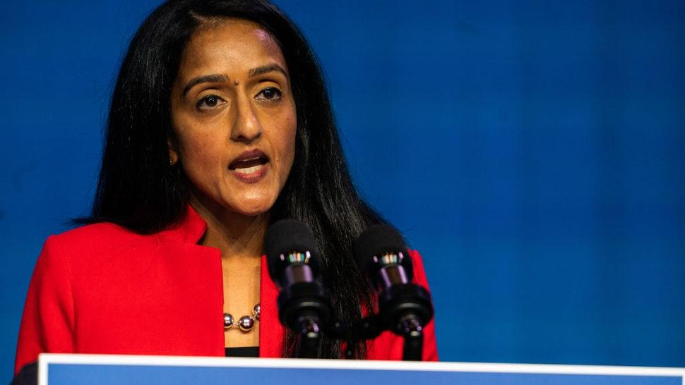 Vanita Gupta speaks during the announcing of President- Elect Joe Biden and Vice President - Elect Kamala Harris Justice Department nominees at the Queen in Wilmington, DE on January 7, 2021. Merrick Garland, for attorney general, Lisa Monaco for deputy attorney general, Vanita Gupta for Associate attorney general and Kristen Clarke for assistant attorney general for the civil rights division.