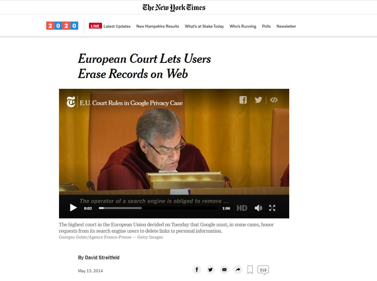 European Court video los usuarios se pronuncian sobre la web New York Times