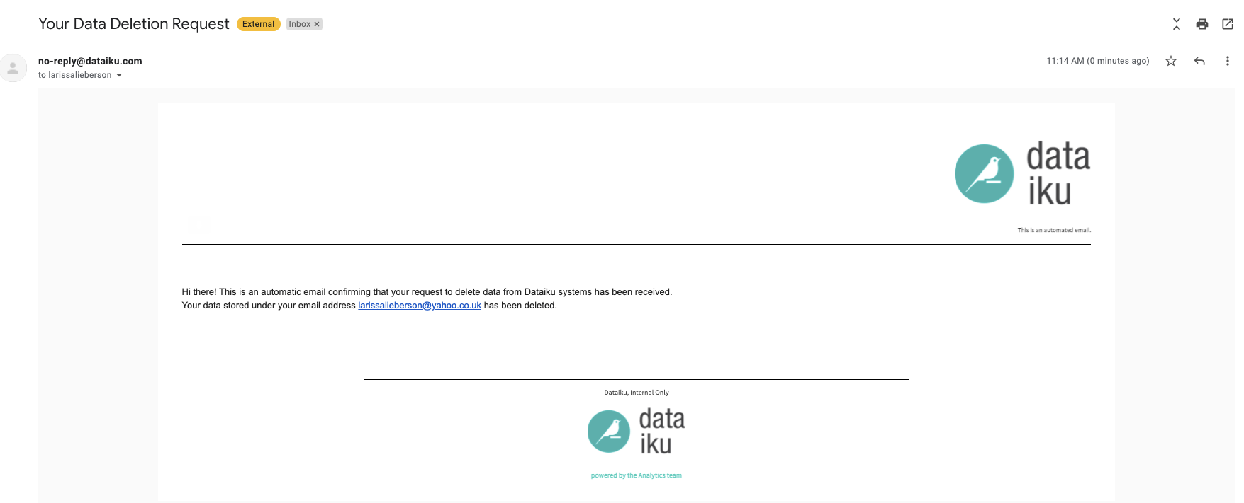 data deletion email example