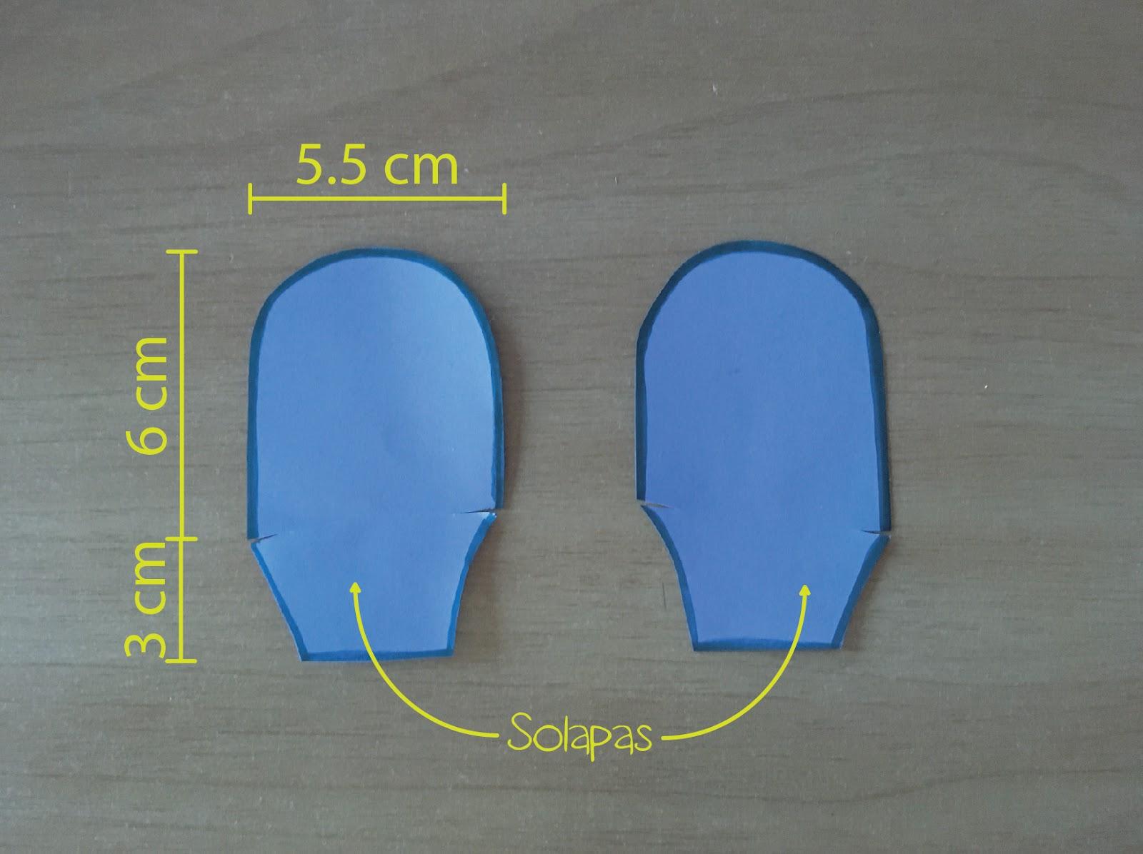 Dimensiones de los soportes para los ojos en cartulina.