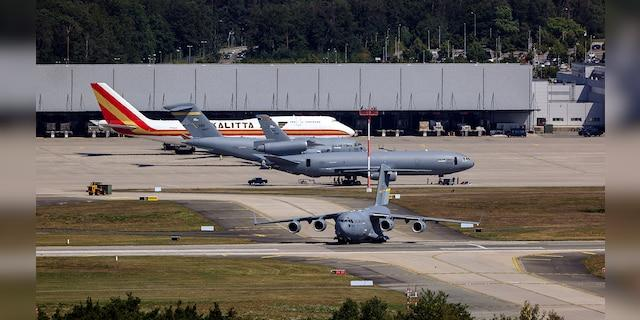 A United States Air Force aircraft taxis on the tarmac at Ramstein United States Air Force Airbase in Landstuhl, Germany, in July. (Bloomberg via Getty Images)