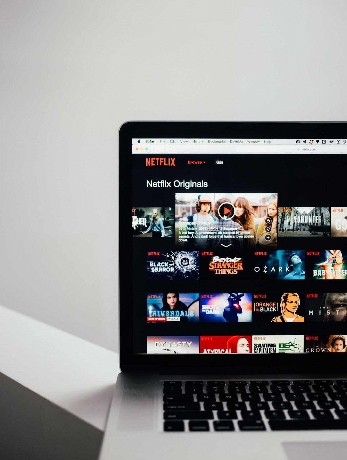 Netflix.com homepage on a laptop