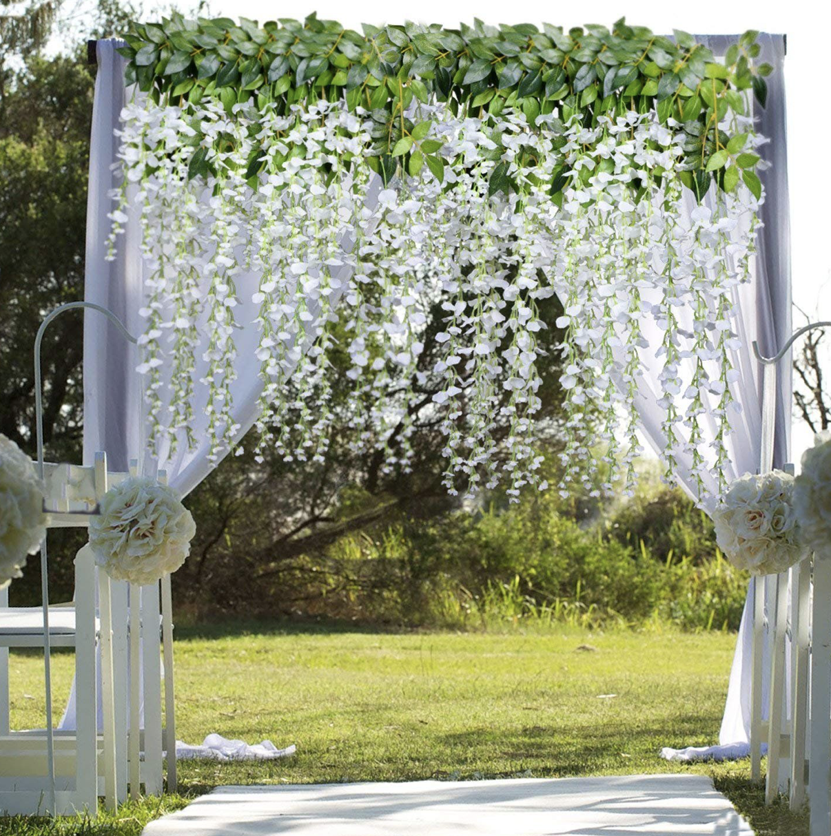 hanging flowers backdrop