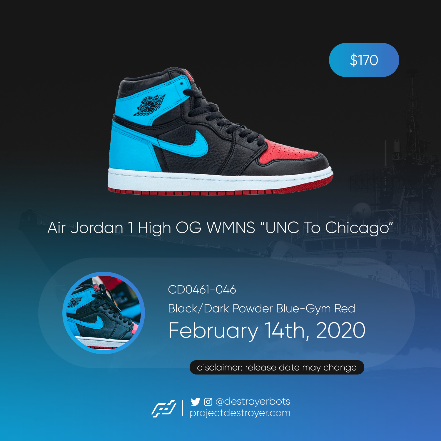 Air Jordan 1 UNC Chicago WMNS - Project Destroyer