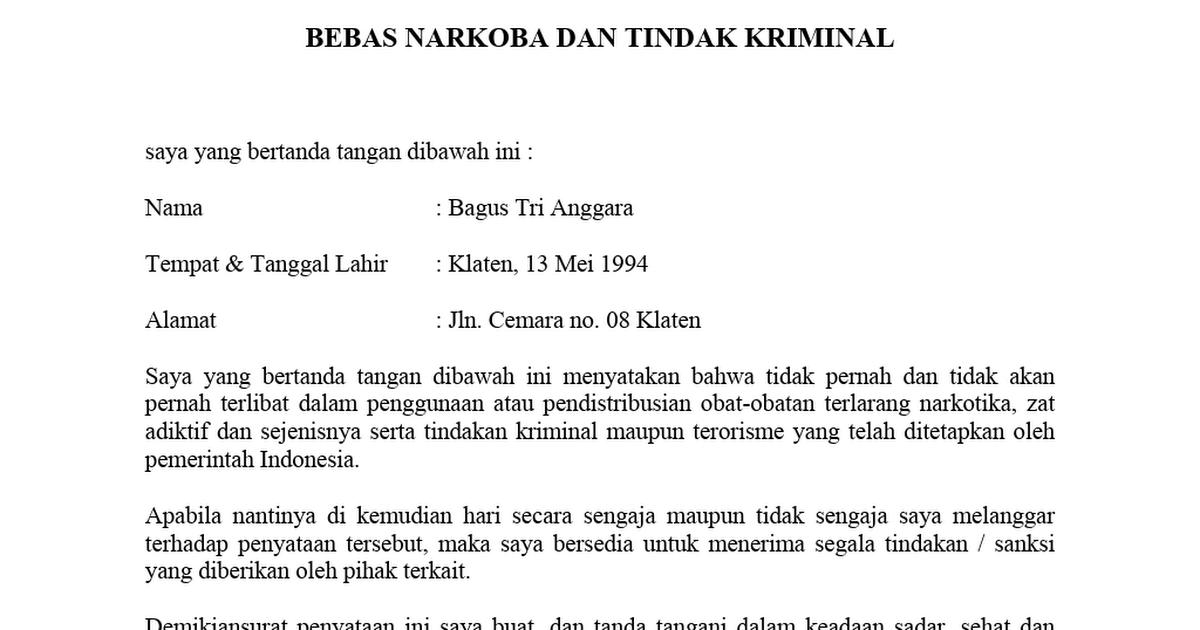 Contoh Surat Pernyataan Bebas Narkoba Dan Tindak Kriminal