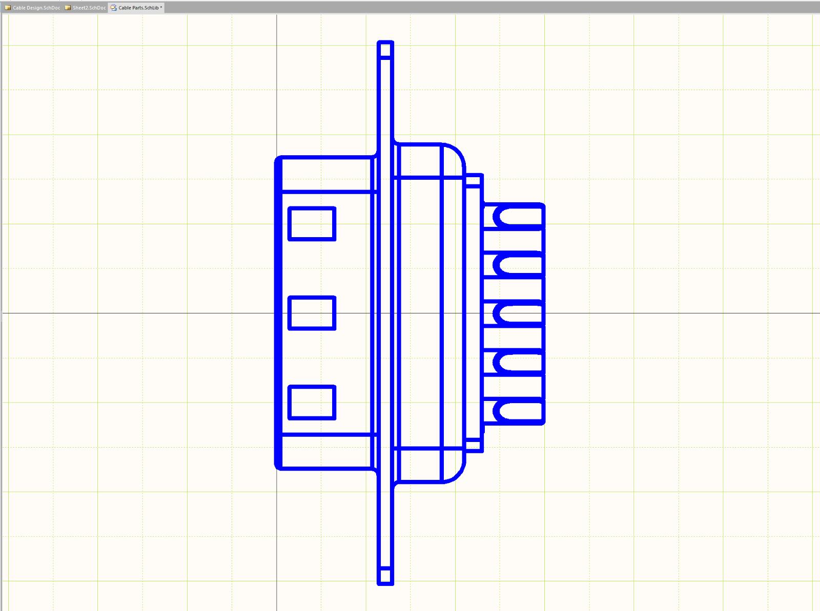 Figure 4.  Vue de profil d'un connecteur DSUB dans l'éditeur Altium pour la réalisation des câblages et du schématique.