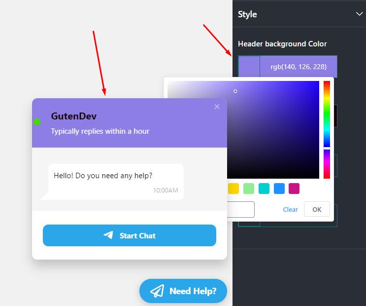 Live chat header background color