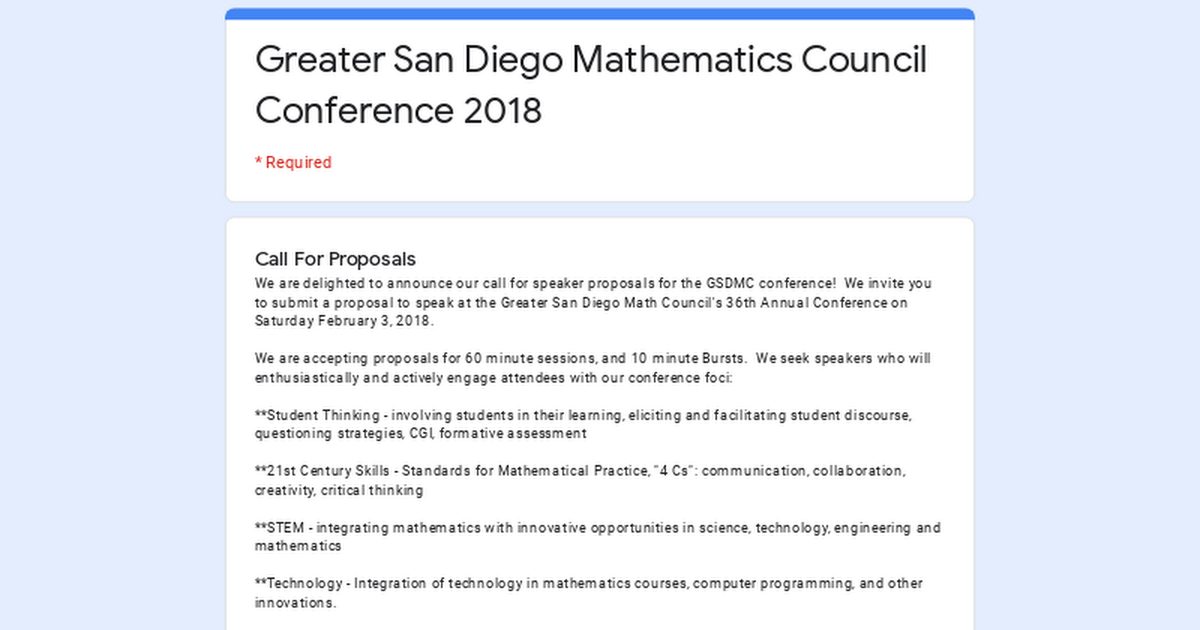 Greater San Diego Mathematics Council Conference 2018