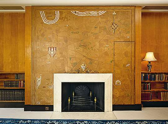 This leather map, made by Margarita Classen-Smith in the 1930s, above the boudoir fireplace, depicts Eltham Palace and the surrounding area