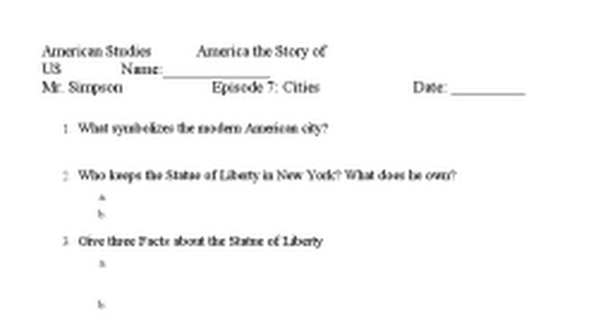 America the story of us Episode 7doc Google Docs – America the Story of Us Worksheets