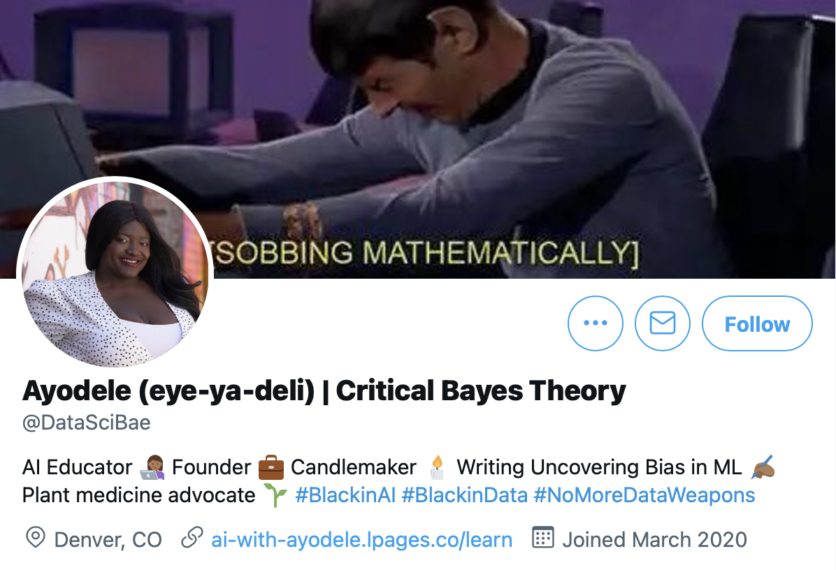 Twitter profile of Ayodele Odubela, a data science mentor and educator