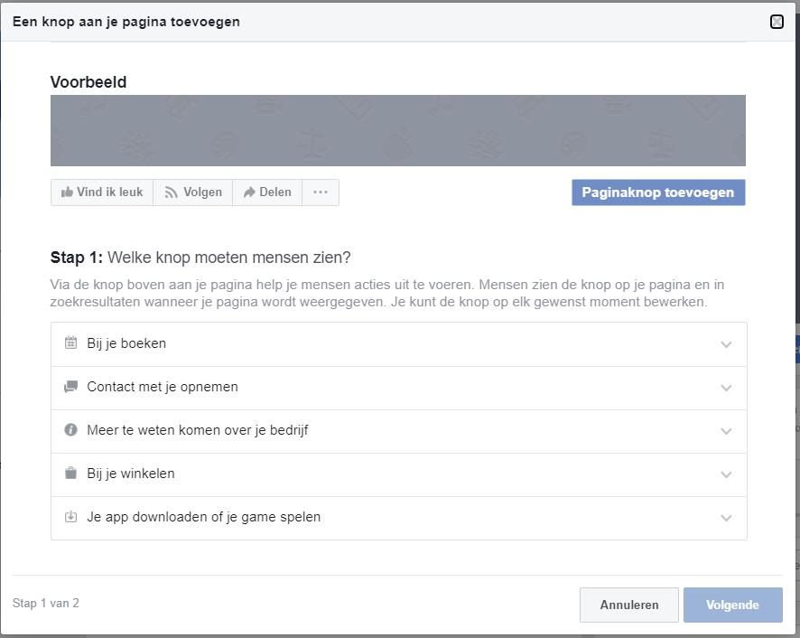 Voeg een knop toe aan je facebook bedrijfspagina