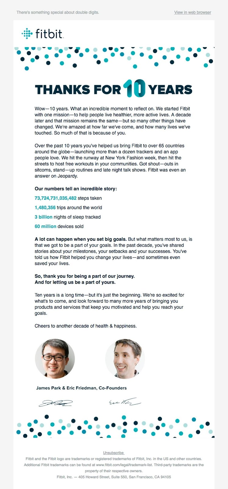 fitbit thank you email example