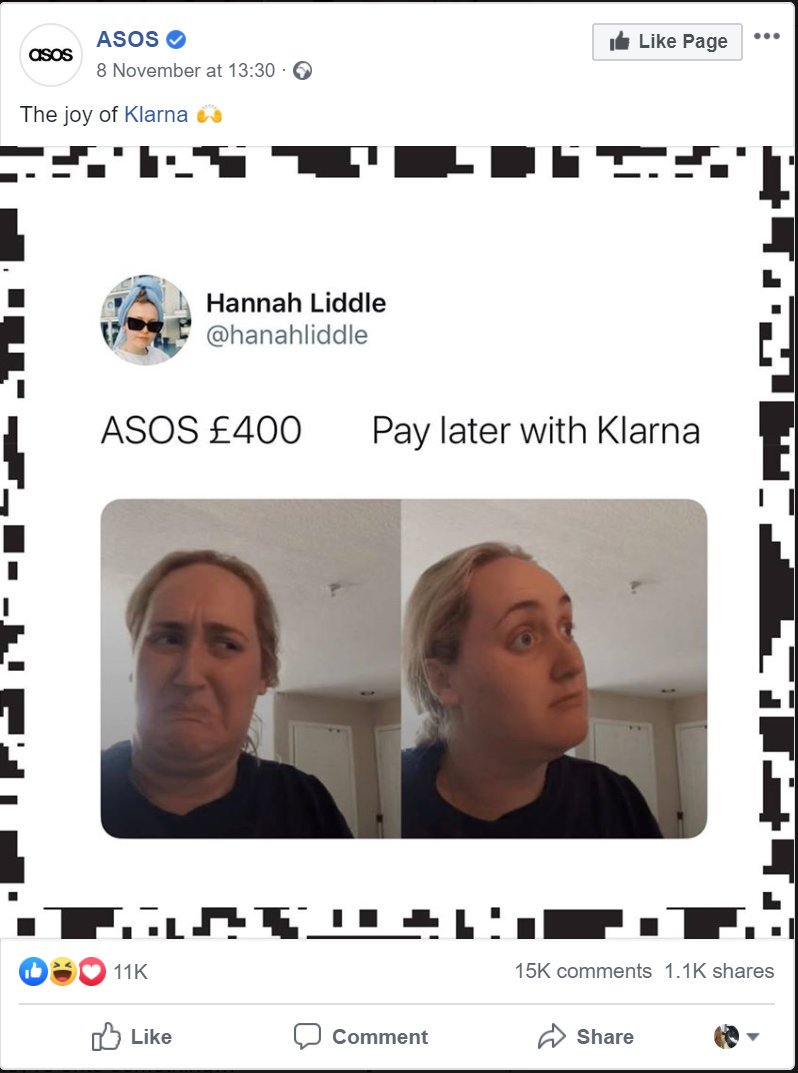 ASOS Klarna advert