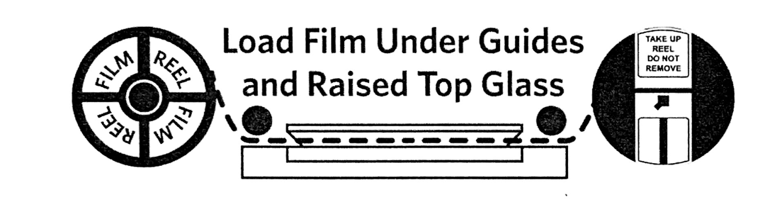 Load film under guides and raised top glass