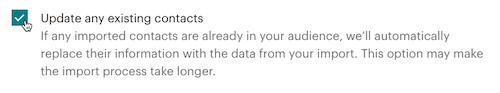 El cursor hace clic - Actualizar los contactos existentes - Subir archivo