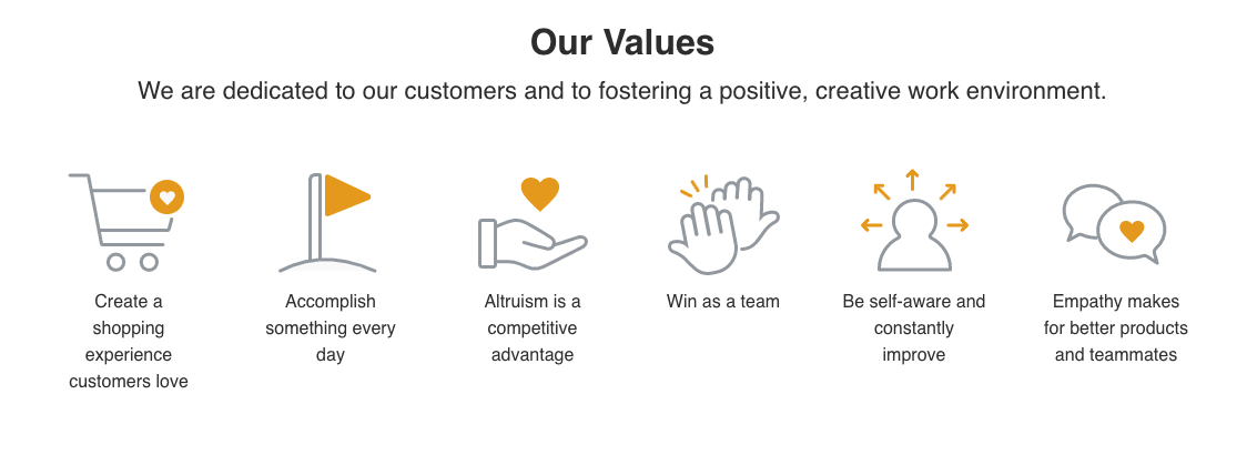 Screenshot of Octane AI's core values