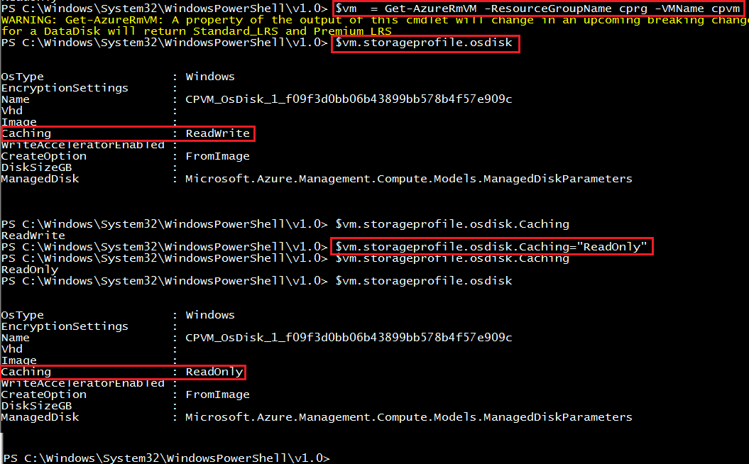 Azure Disk Caching in PowerShell