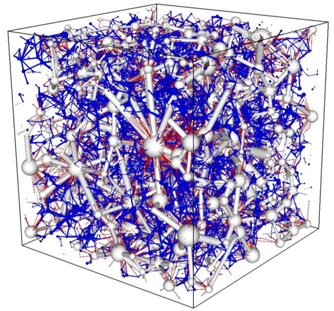 Two-scale Pore Network. The white and blue/red are the coarse and fine networks, respectively.