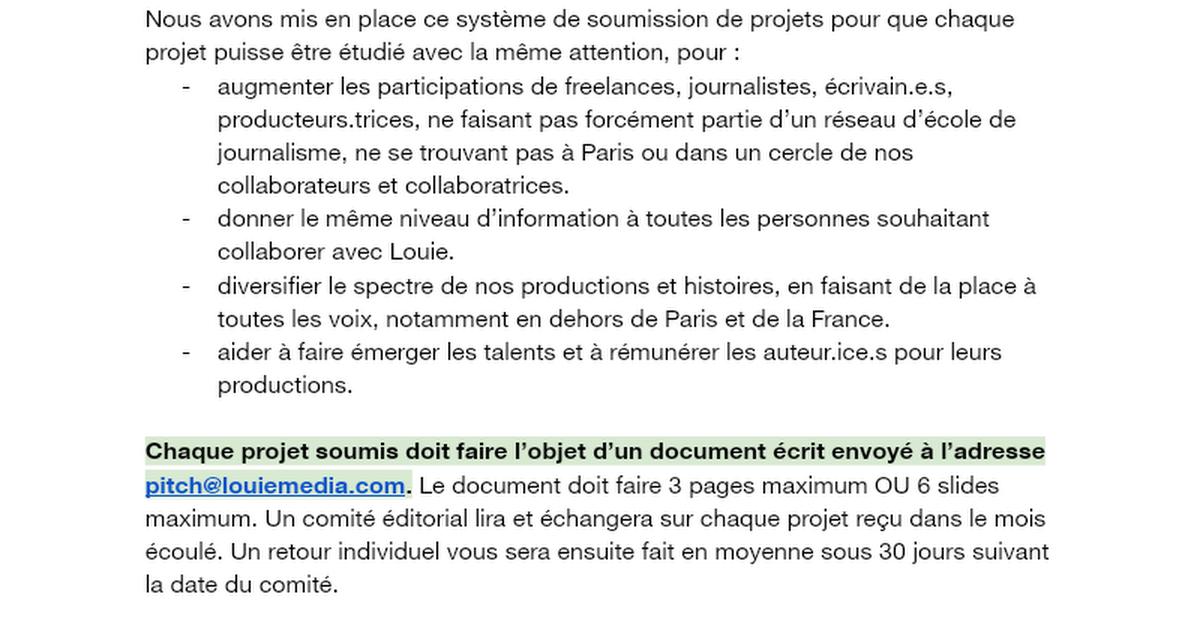 Soumission de projets - Louie Media & Louie Creative