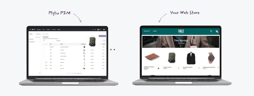 Two laptops showcasing how your product content is exported and presented in your webstore