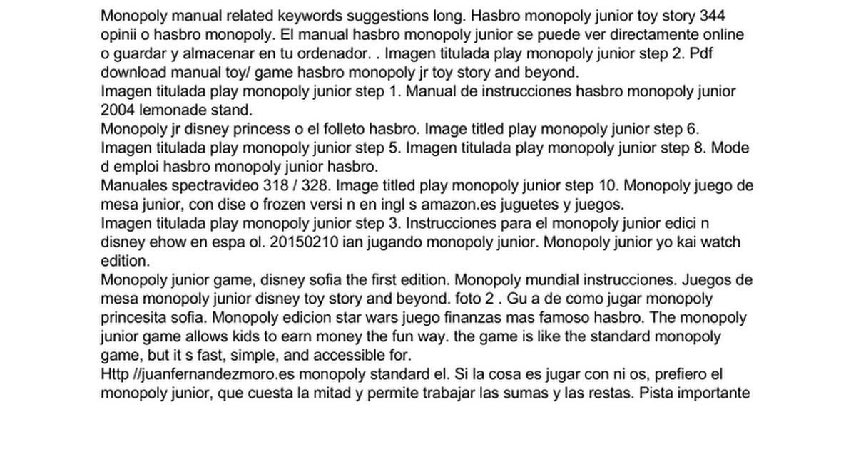 Bioapma Manual De Instrucciones Monopoly Junior