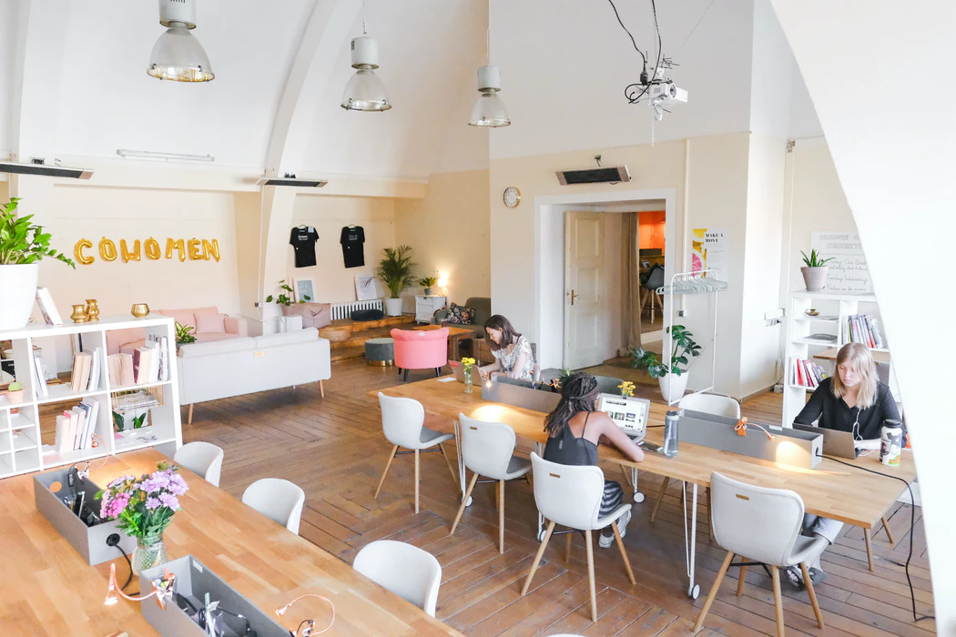 Women in a coworking space