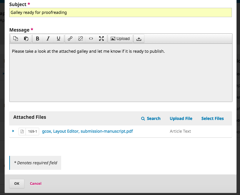 Discussion box showing the uploaded galley file as attachment.