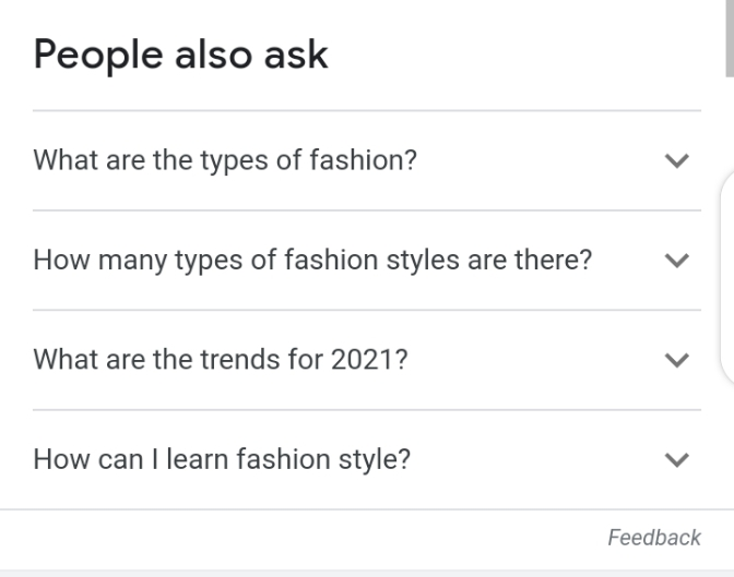 People also ask section for SEO
