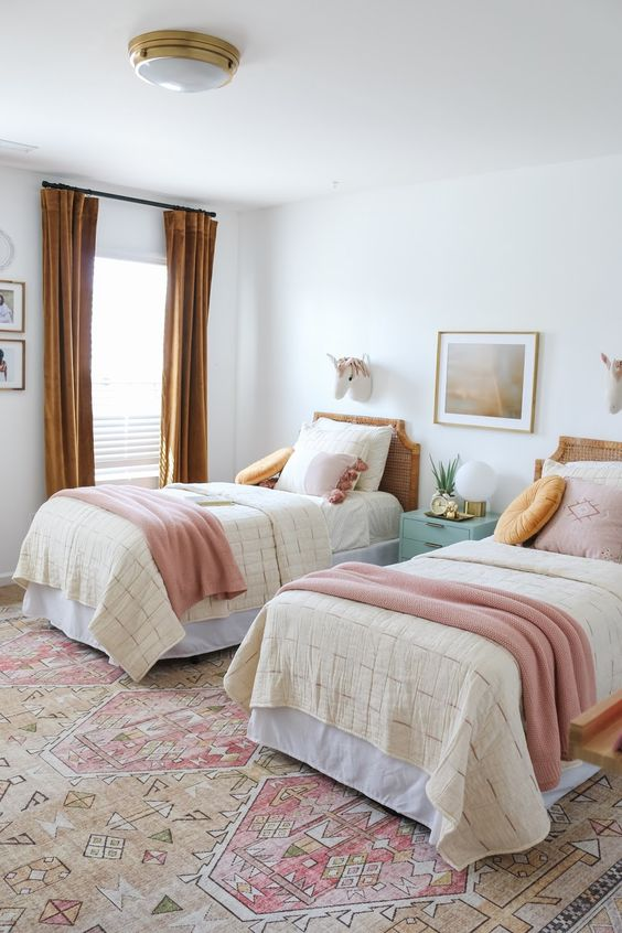 Bedroom Decorated with Pops of Pink
