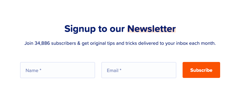 MailPoet newsletter sign-up form.
