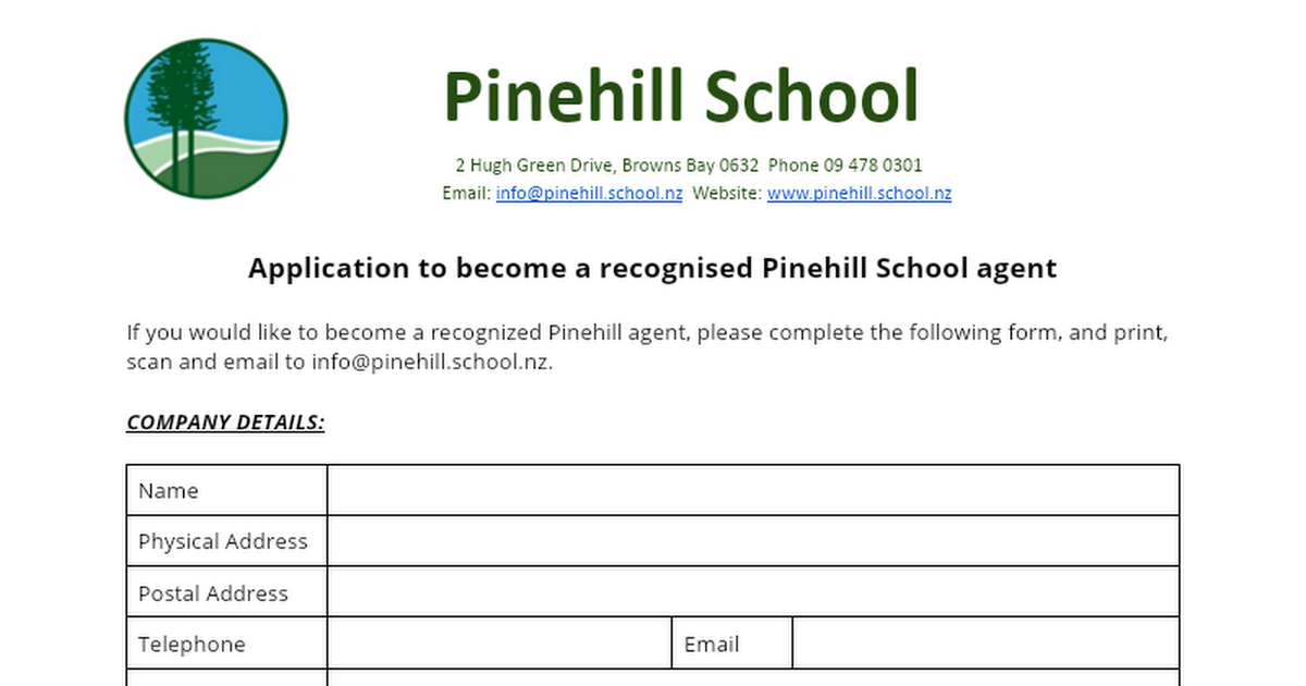 agent application for pinehill school google docs