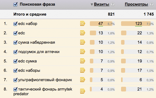 Пример отчета по картиночным запросам из Яндекс.Метрики