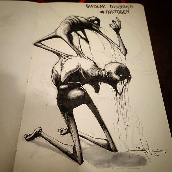 Mental Disorder, InkTober, Shawn Coss, Social Anxiety Disorder, Major Depressive Disorder, Insomnia, Bipolar Disorder, Post Traumatic Stress Disorder, Autism Spectrum Disorder