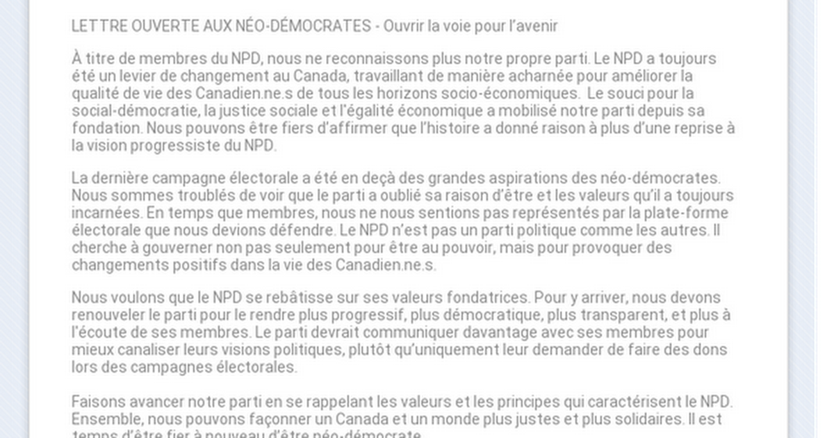Renew the NDP - Renouvelons le NPD