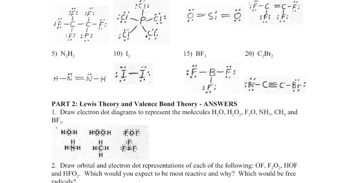 SP06 Bonding Theories Worksheet ANSWERS Google Docs – Orbital Diagram Worksheet
