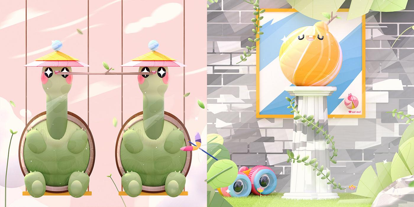 36daysoftype 3D animals explore graphic design  ILLUSTRATION  kawaii plants type typography