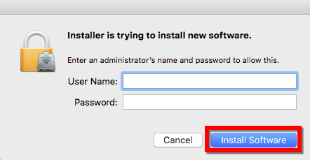 Install Software Window