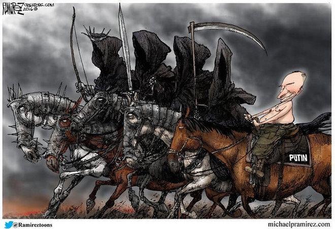 Карикатура. Путін – 5-й вершник апокаліпсису