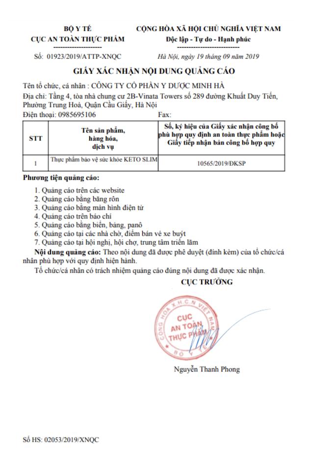 Giấy phép Keto Slim của cục An toàn thực phẩm - Cục trưởng Nguyễn Thanh Phong