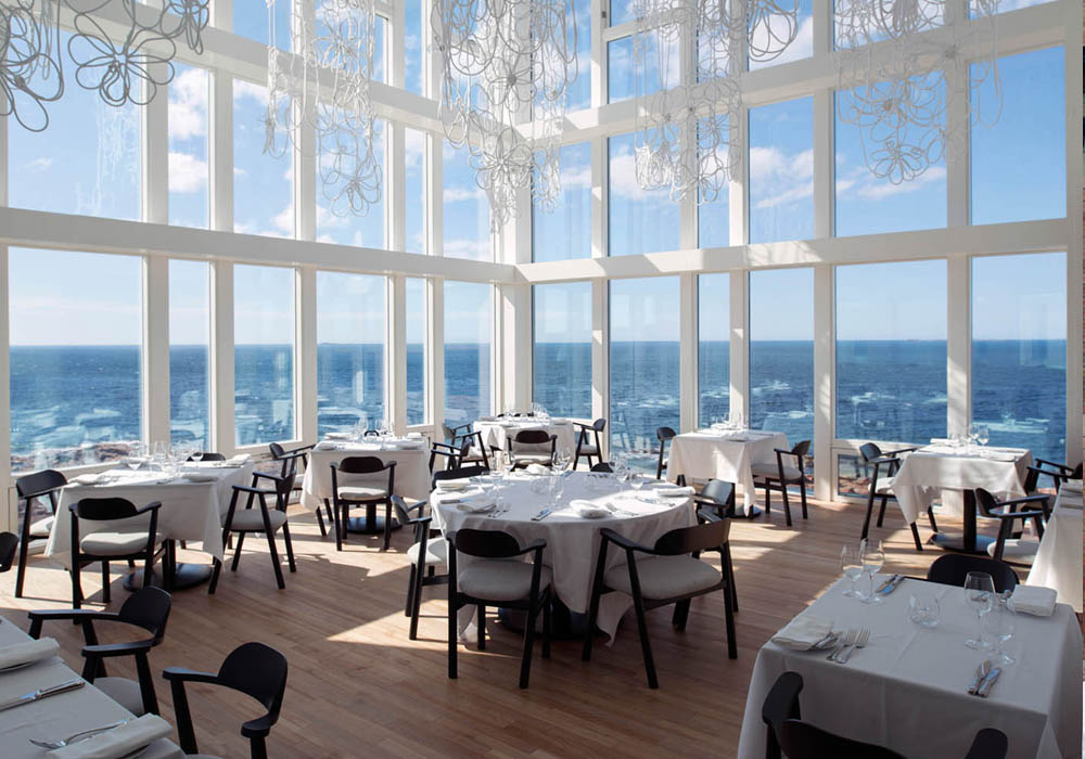 Floor to ceiling windows in the dining room of the Fogo Island Inn.
