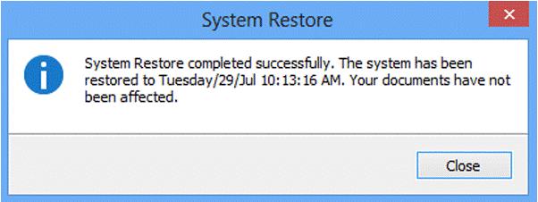 System restore in windows 8/8.1