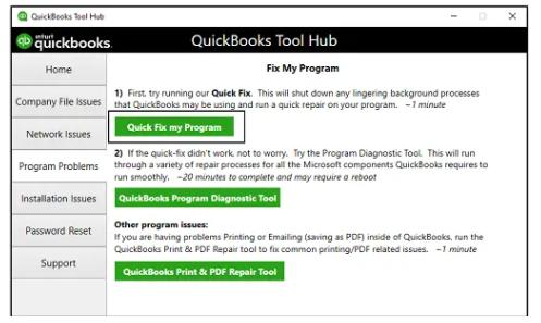 Quickbooks Tool Hub >> Quick Fix My Program