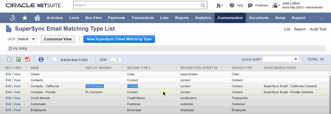 Overview of our email matching type list, showing each customer name, record type, and saved search filters.
