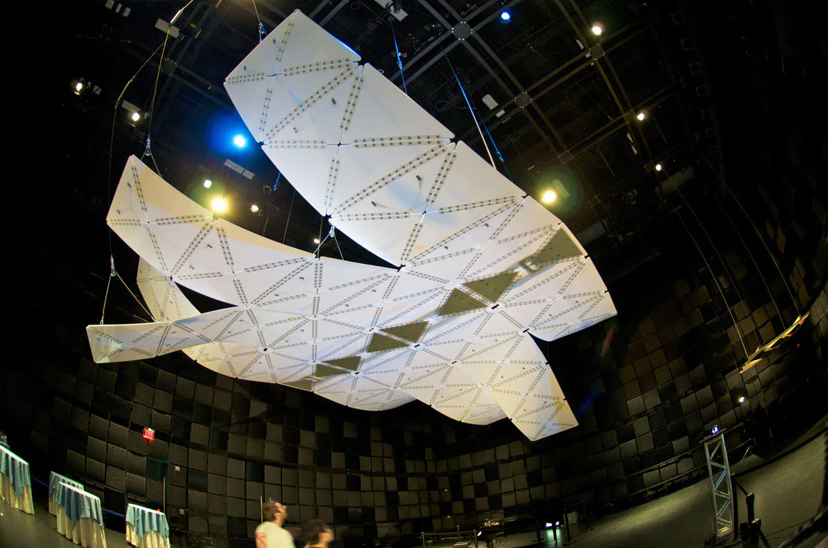 Manta (2012) is a surface that changes its form - and therefore acoustic character - in response to multimodal input including sound, stereoscopic vision, multi-touch, and brainwaves.