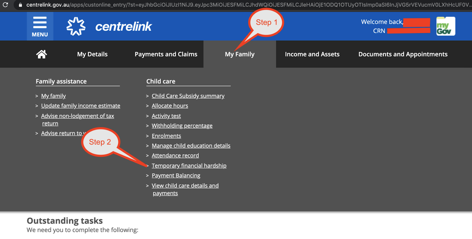 Screen shot from Centrelink online ACCS application