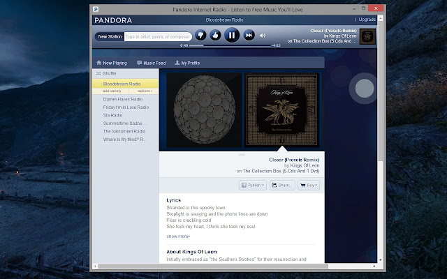 Pandora Player chrome extension