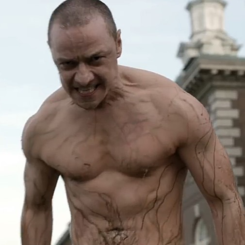James McAvoy as Kevin Wendell Crumb, or the Beast, or the Horde in the movies Split (2016) and Glass (2019).